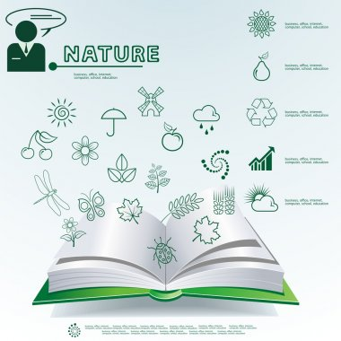 Green leaves in are printed on the book. Vector nature idea ecology