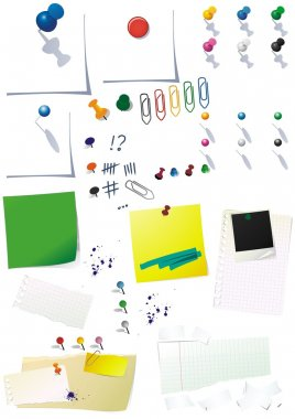 Vector paper notes with office button paper clip color illustration