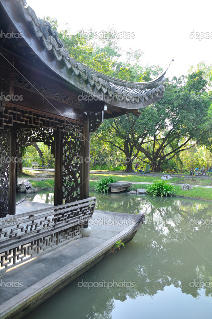 Oriental pavilion in the pool