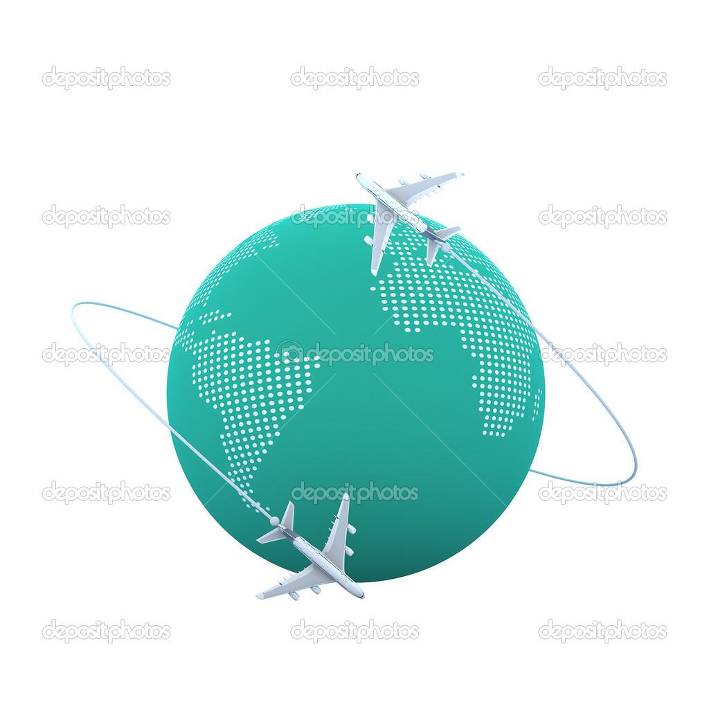 3d Flugzeuge Fliegen Rund Um Den Globus Stockfoto C Tigger11th