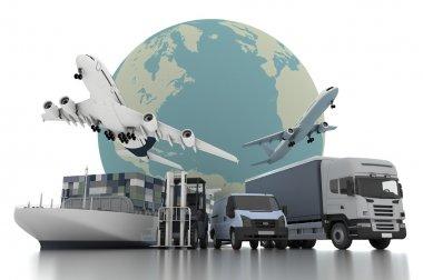 3d world wide cargo transport concept stock vector