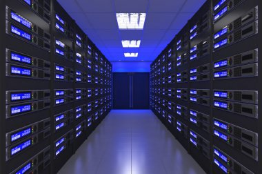 3d Modern interior of server room