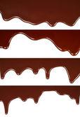 Fotografie geschmolzene Schokolade tropft Set