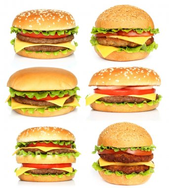 Big hamburgers on white background stock vector