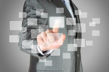 Businessman with hand using virtual inteface