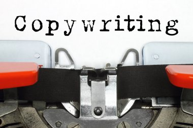Part of typing machine with typed copywriting word