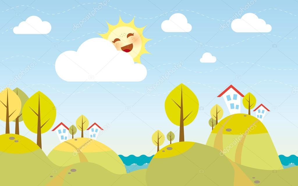 Joli dessin anim paysage d 39 automne image vectorielle tka4u4a 13434215 - Paysage d automne dessin ...
