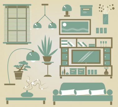 Set of vector furniture icons for sitting room