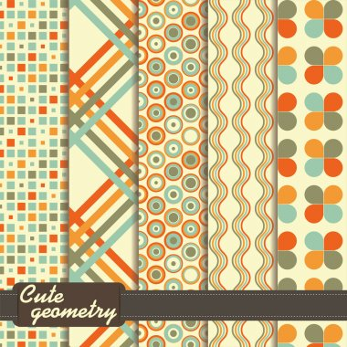 Set of colorful geometrical pattern in retro style