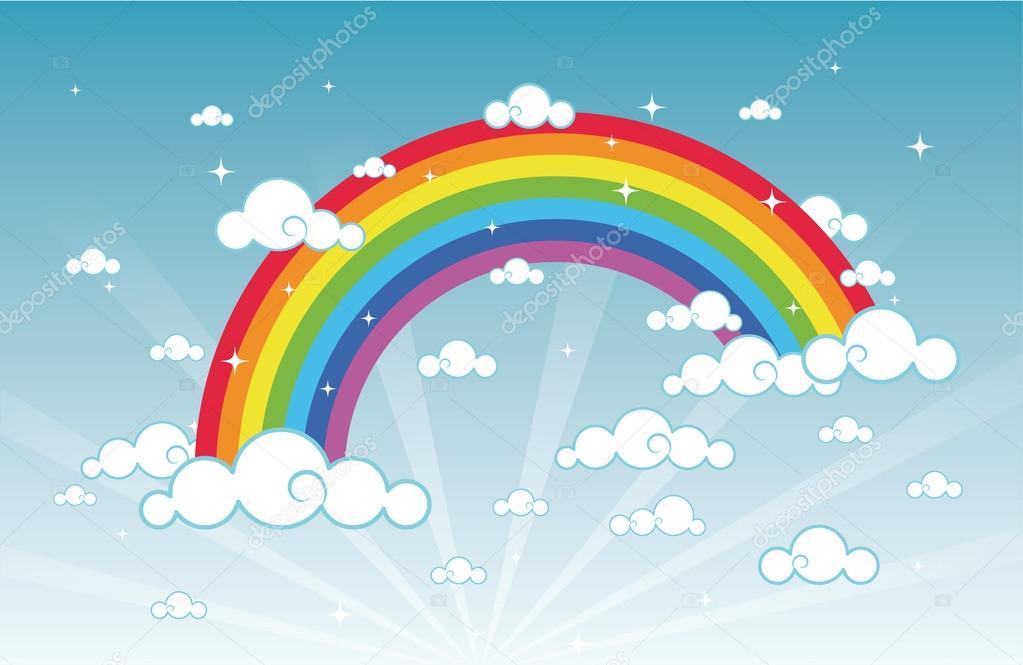 Vector illustration of cartoon beautiful sky with rainbow