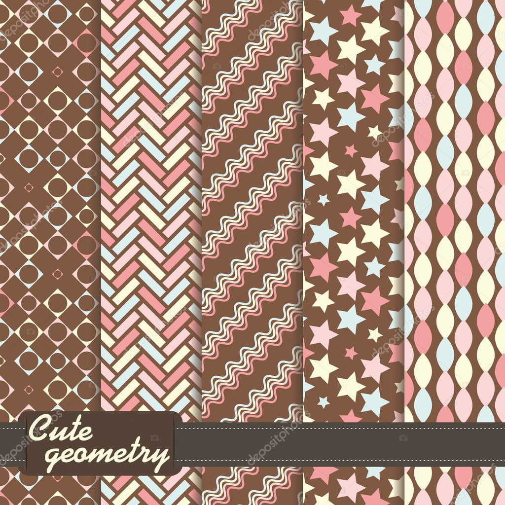 Set of colorful geometrical seamless pattern