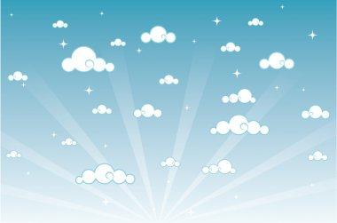 Vector illustration of cartoon beautiful sky