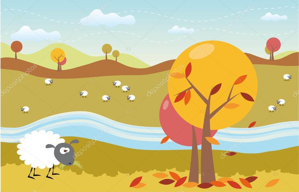 Cartoon autumn landscape with cute sheeps