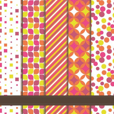 Set of abstract geometric seamless patterns pink
