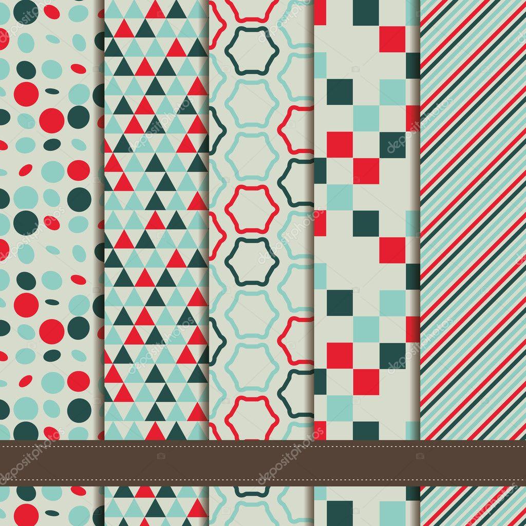 Set of abstract geometric seamless patterns retro blue green