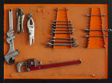Tools for Car arranged on the wall stock vector