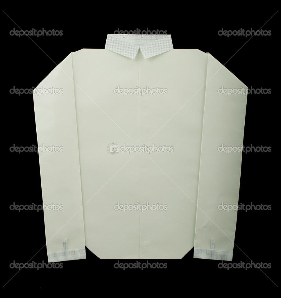 Ізольована папір зробив білу сорочку. Скласти орігамі стиль — Фото від  deyangeorgiev2 f328630e8c835
