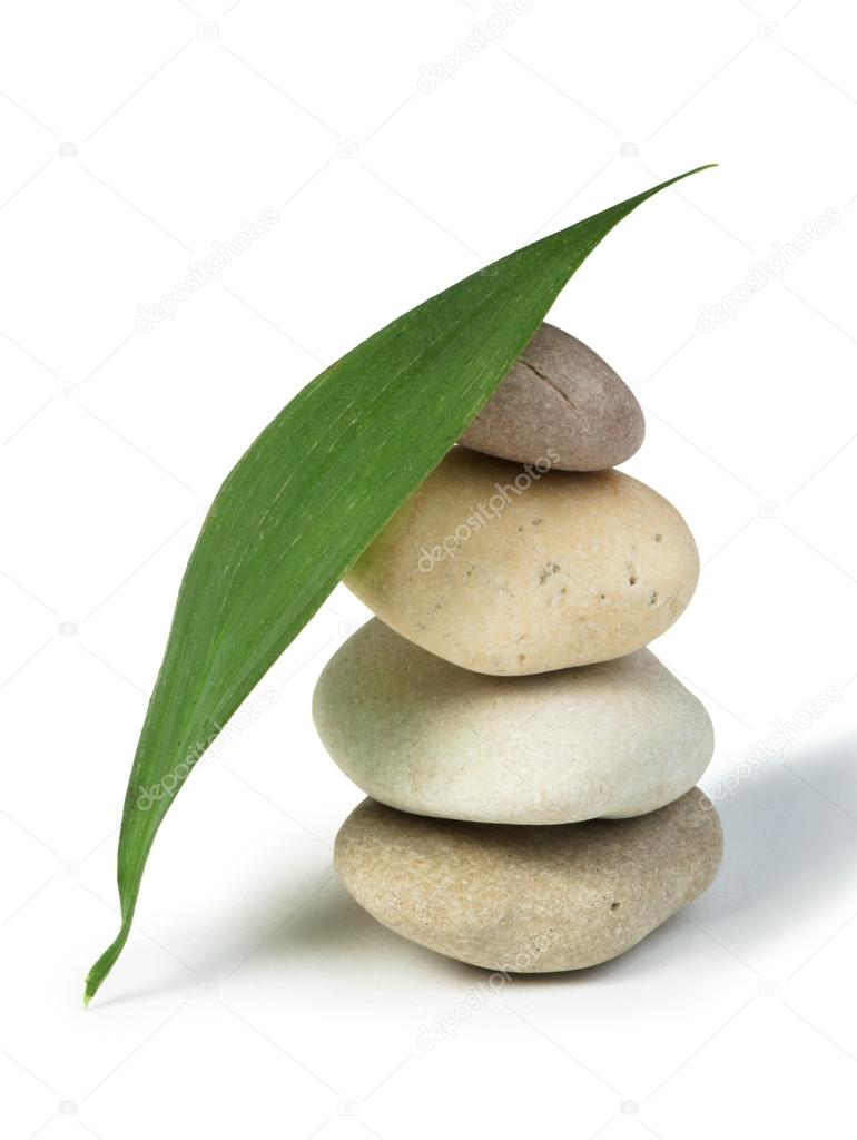 Stacked stones and green leafs
