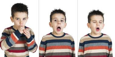 Children who cough. White isolated studio shots. stock vector