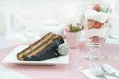 Fotografie Schoko-Kuchen und einen Milchshake in der Konditorei