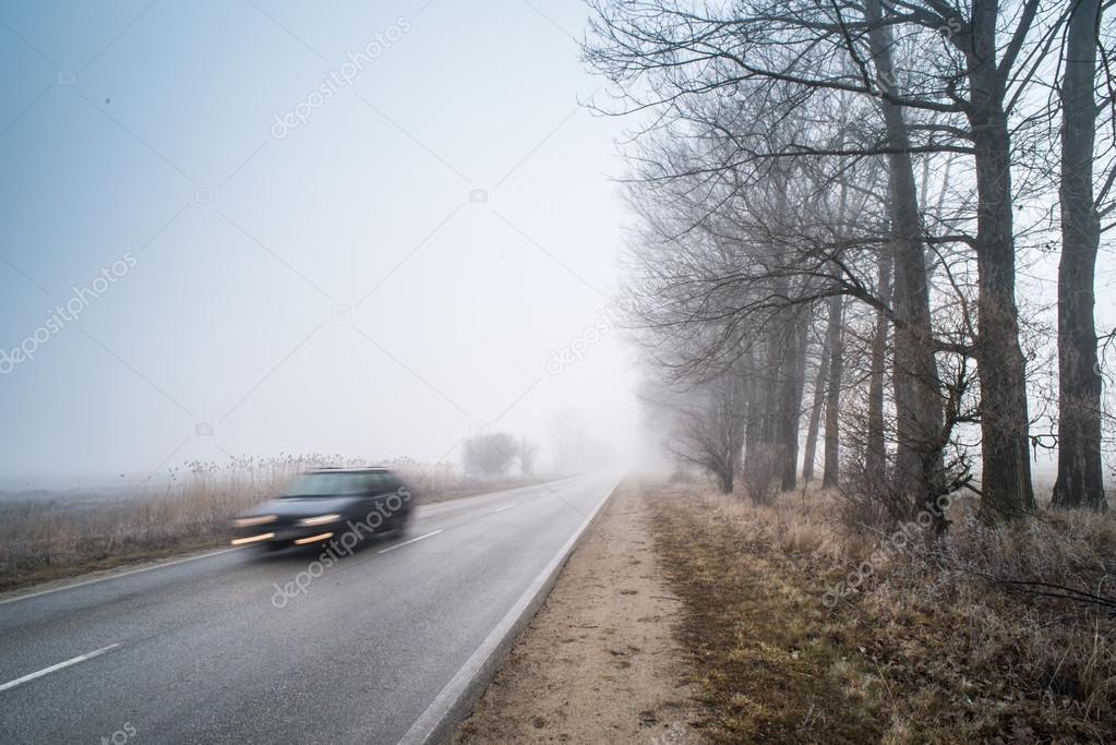 Car on a road in fog