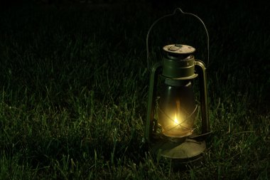Vintage lantern in the night.