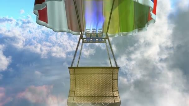 létající balon s košíkem, sluneční erupce a cloud vrstvy