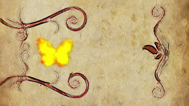 Animated decorative painting background border with flying butterfly