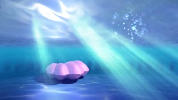 Under water scene with seashell and pearl