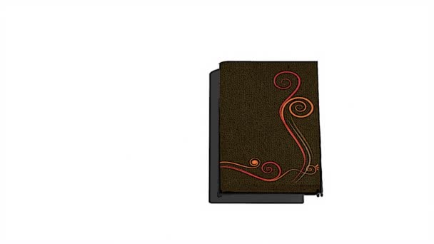 Animated opening blank book with decorative painting flowers and alpha channel