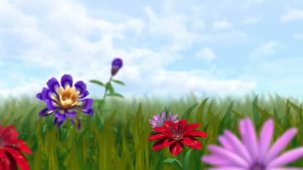 Animated growing flowers and grass with alpha channel