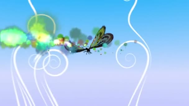 Flying butterfly with decorative ornament on background