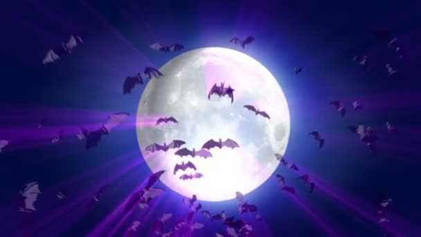 Luna e cartone animato halloween sfondo bat — video stock