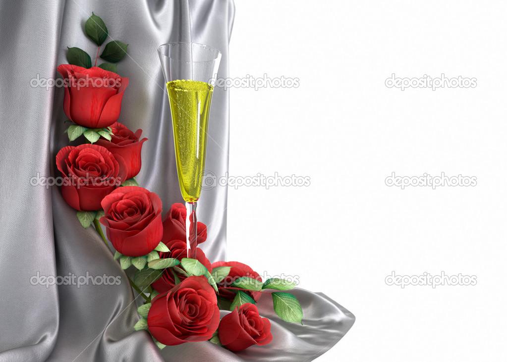 Isolare il sottofondo di vacanza con rose vetro e tessuto u2014 foto