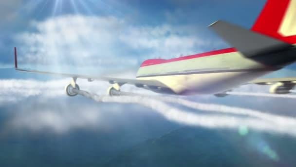 Animované intro s letadlo letící nad mraky