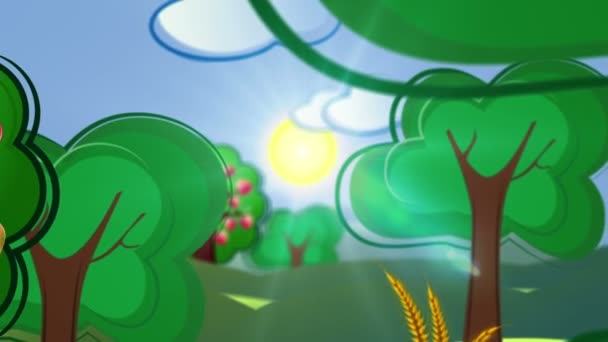 Decorative cartoon concept video background with country side and building city