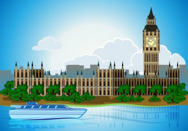 Europa skyline city capital London background with river bus