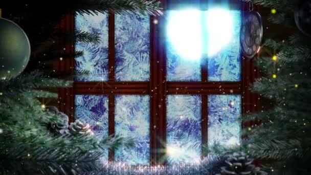 okno s abstraktní vánoční stromeček dekorativní animované pozadí