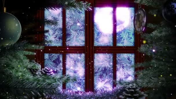 Window with abstract Christmas tree decorative animated background