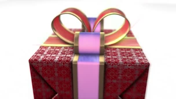 piros ajándékot fehér háttér. Holiday 3d animáció háttér