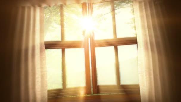 Animované pozadí s otevřeným oknem, listí a krajina