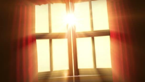 koncept animované pozadí s otevřeným oknem, motýl a mraky