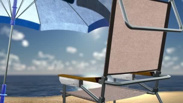 Concetto vacanza sfondo mare spiaggia con sedia e conchiglie u2014 video