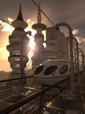 Aerial view of Futuristic City with train and sunset