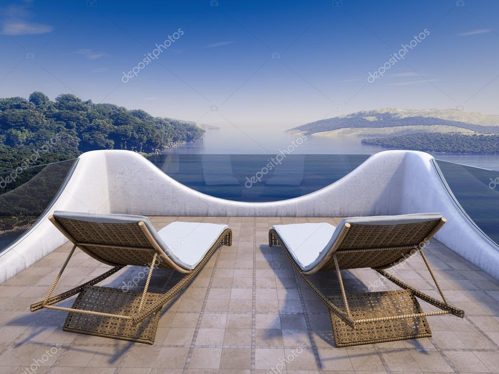 Balcony with Sea Views and two chairs vacation concept background