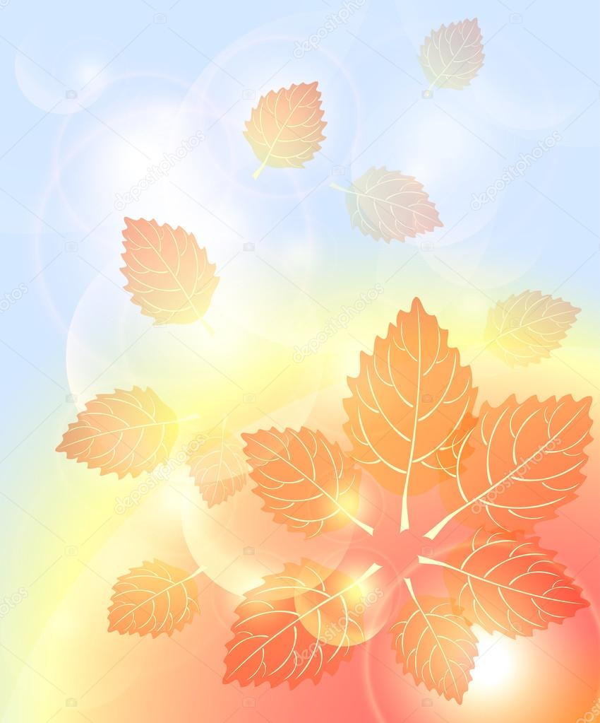 Abstract autumn background with leaves bubbles and light