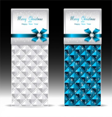 Banners or gift card with bow geometric pattern blue
