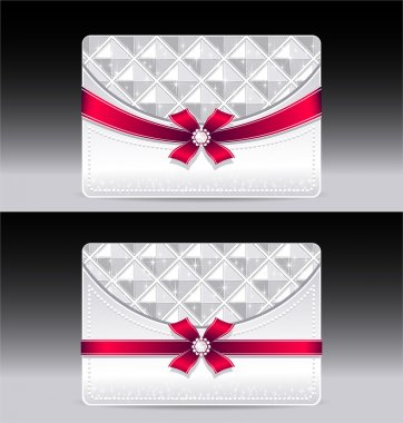 Gift cards with geometric pattern red bow ribbon