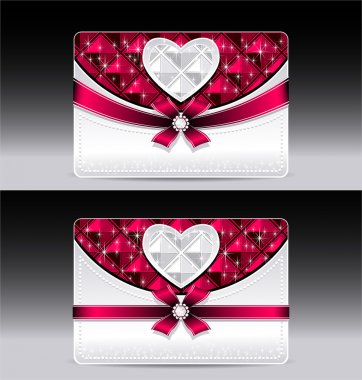 Gift cards with heart geometric pattern red bow ribbon