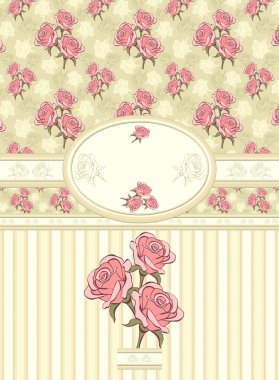 Retro floral frame with seamless pattern on olive background